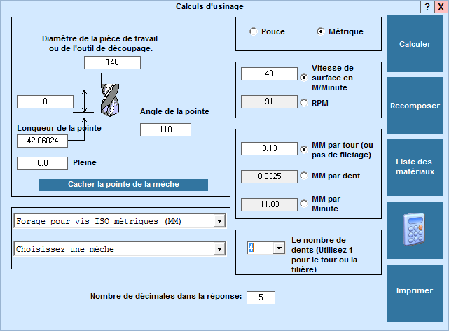 Application Calcul d'usinage