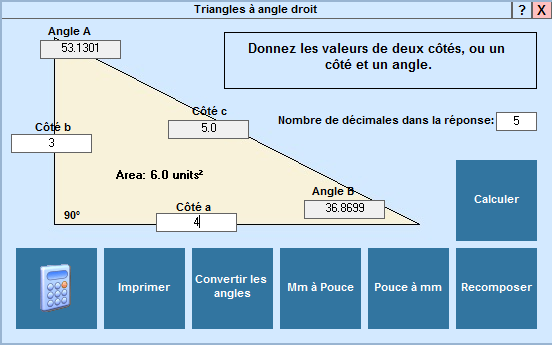 Application Triangles à angles droit